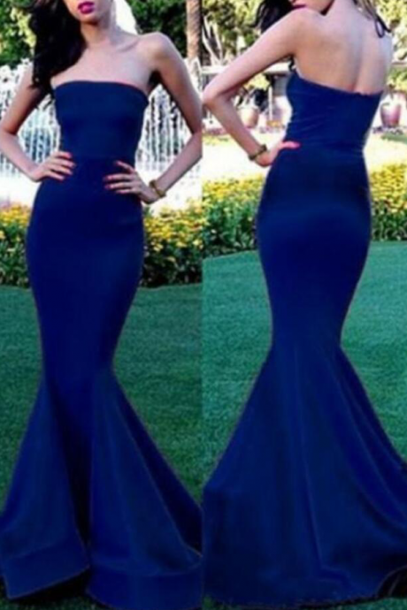 fashion strapless mermaid prom dress, stain long party dress