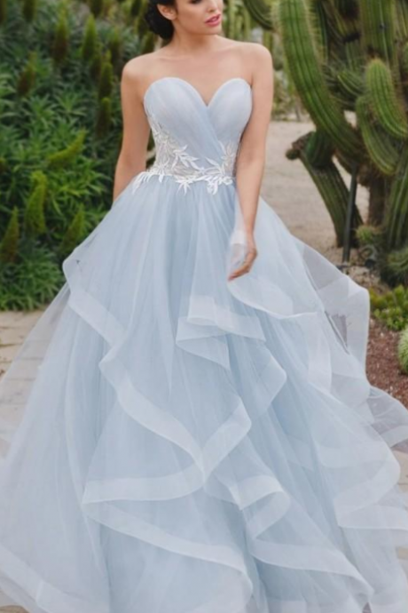 Cheap And Elegant Prom Dresses With Ruffles Tulle Long A Line Prm Dresses Sweetheart Applique Bridal Gowns Formal Evening Gown