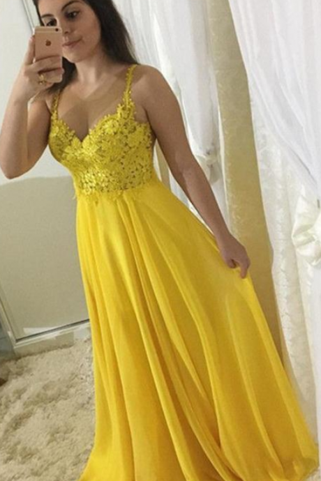 vestido de festa longo Sparkly Lace Appliques Yellow Long Prom Dresses Sexy See Through A Line Long Party Evening Dress