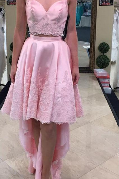 New A Line pink Spaghetti Prom Dresses With Beautiufl Lace Hi-Lo Evening Dresses Formal Party Gowns Cheap Prom Dresses
