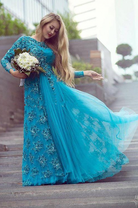 Turquoise Long Sleeve Bridal Evening Dresses Sparkly Beading Tulle Lace Crew Neck Plus Size Mother of the Bride Dress Arabic Prom Gowns