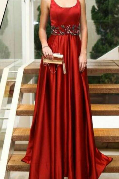 Red Prom Dress,Satin Prom Dress,Long Formal Party Gown