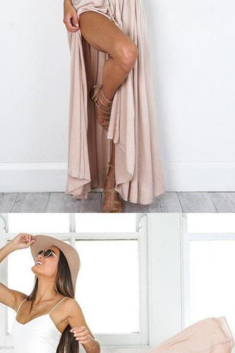 Simple two piece prom dress, spaghetti straps long prom dress, stain evening dress