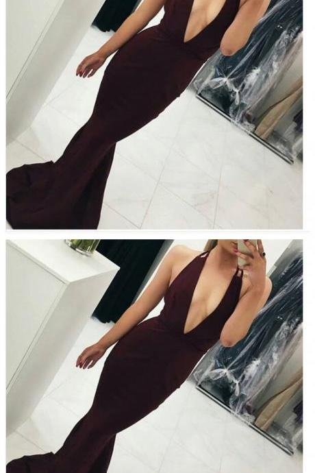 Sexy Hot Prom Dress Evening Dress, Mermaid Burgundy Prom Dress, Deep V-neck Backless Long Evening Dress Prom Gown