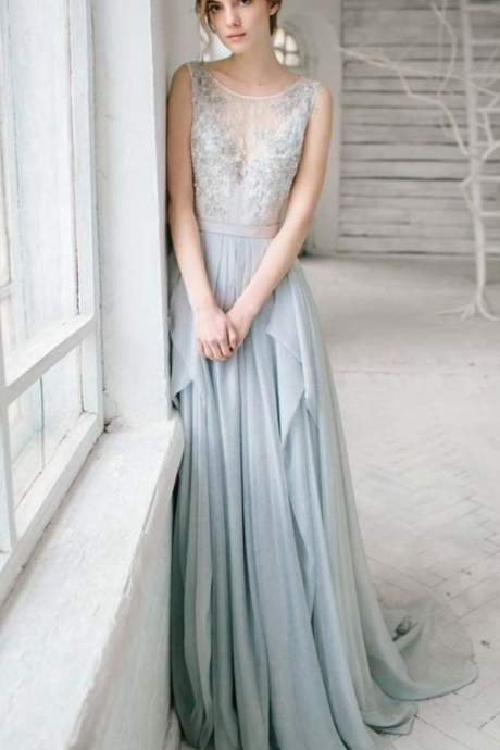 Pretty Evening Dress,Party Dress Chiffon , New Style Evening Dress o-neck prom dress appliques evening dress