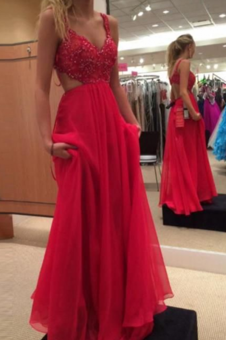 Real Sexy Charming Red Chiffon Beading Backless Long Prom Dresses,girls party dress, sexy prom Dresses