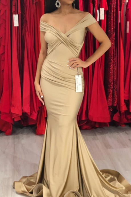 New Elegant Gold Mermaid Prom Dresses Sexy Off the Shoulder Ruched Sweep Train Zipper Back Evening Formal Wear Party Dress Custom Made