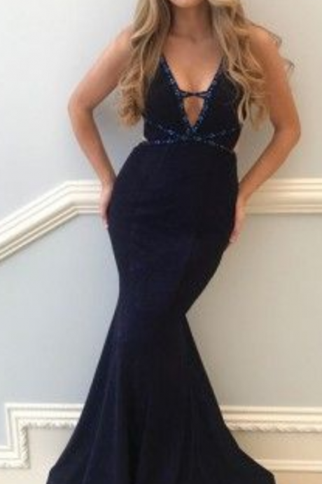 Mermaid V-Neck Floor-Length Navy Blue Prom Dress with Beaing