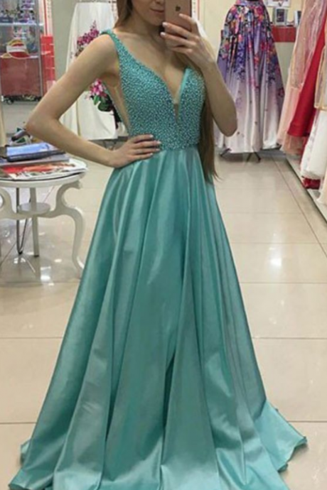 Charming Prom Dress,A-Line Prom Gown,Satin Prom Dress,Beading Prom Gown