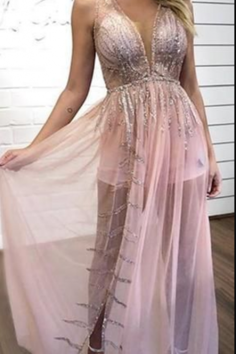 Beautiful Charming Sexy Illusion Pink Chiffon Silver Sequin Long Prom Dress