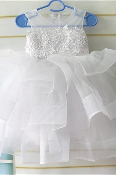 White Lace Flower Girl Dress, Tulle Layered Flower Girl Dress, First Communion Dress, Birthday Girl Dress, Tutu Flower Girl Dress