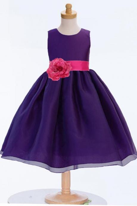 Purple Flower Girl Dress, Organza Purple Dresses, Wedding Bridesmaid Dresses, Recital Dress, Princess Dresses