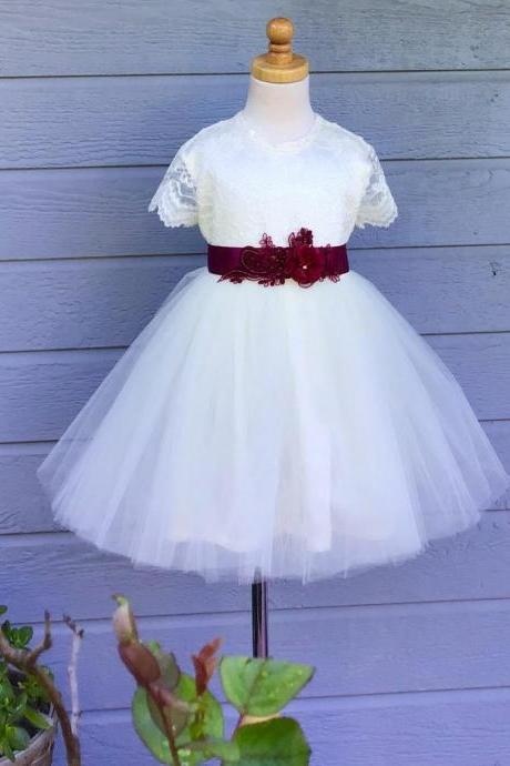 Ivory Lace Flower Girl Dress,Lace Flower Girl Dress,Ivory Tulle Lace Dress,Country Weddings,Rustic Wedding Flower Girl Dress