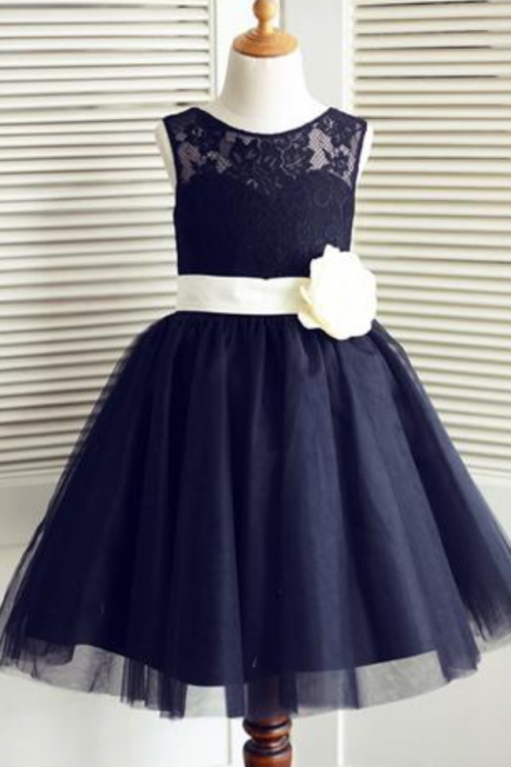 A-Line Round Neck Navy Blue Tulle Flower Girl Dress with Lace Flower