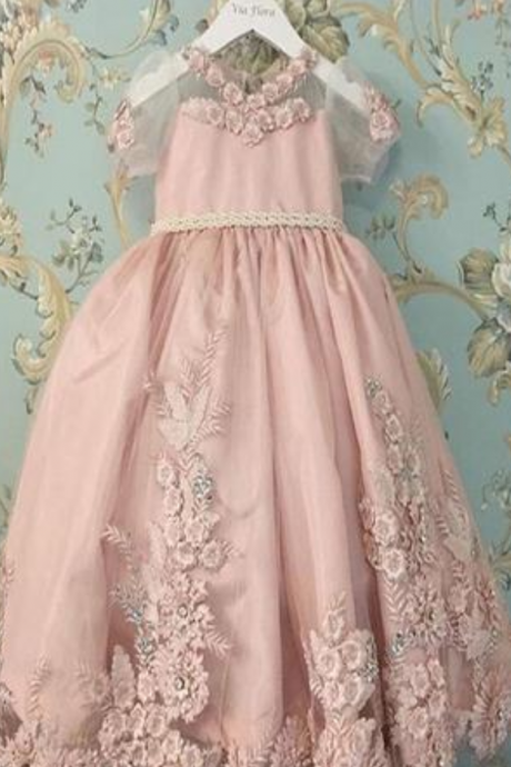 Blush Pink Short Sleeves Floor Length Appliqued Flower Girl Dress with Bow
