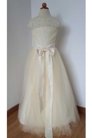 56262f7084c Cheap Floor Length Cream Color Lace Tulle Flower Girl Dress with Open Back