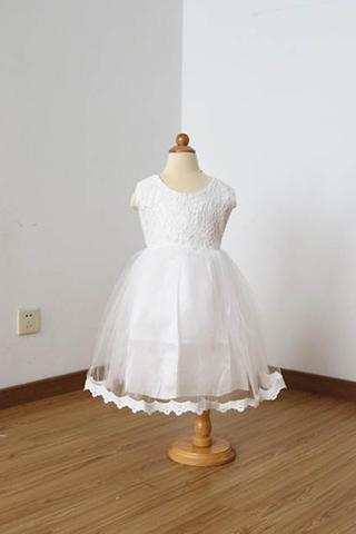 A Line Floor-length Sleeveless Ivory Lace Tulle Flower Girl Dress with Lace Edge