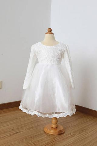 A Line Long Sleeves Ivory Lace Tulle Flower Girl Dress with Lace Edge and Bowknot