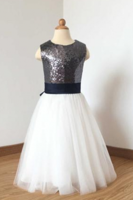 37427679559 A Line Floor Length Charcoal Grey Sequin Ivory Tulle Flower Girl Dress with  Navy Blue Bow