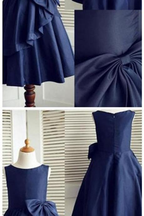 Navy Blue A-line Sleeveless Flower Girl Dress Pageant Dress with Bowknot,Cheap Child Dress
