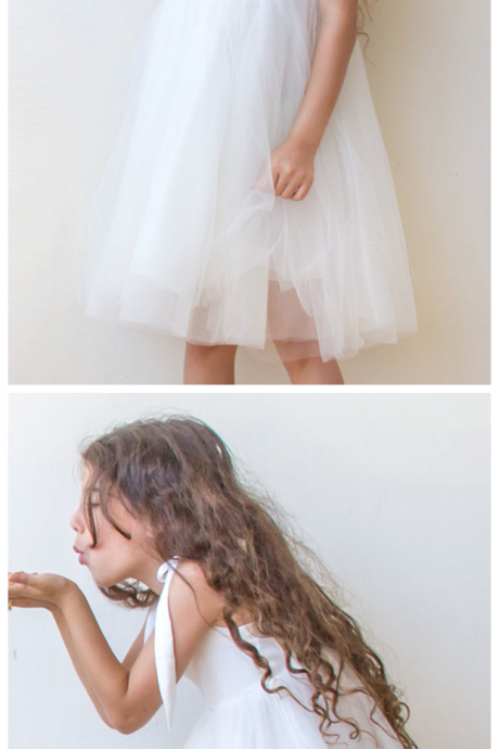 White Tulle Short Flower Girls Dress knee Length Children Party Dress Custom Made Girls Pageant Gowns For Kids 2019 Wedding Party gOWNS