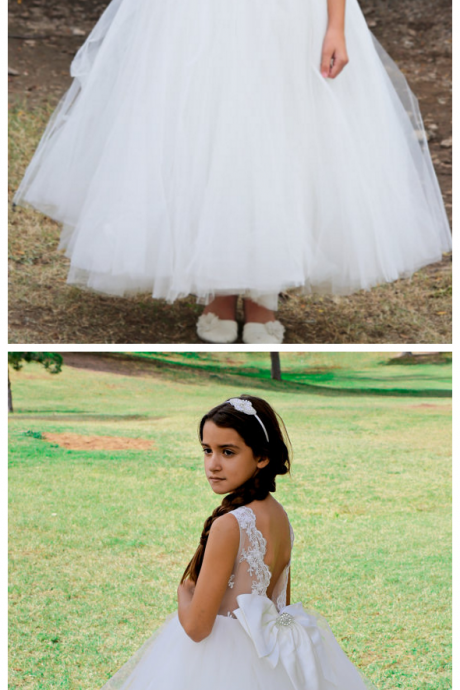 High Low V Back Lace Tulle Wedding Flower Girl Dress