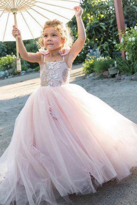 Flower Girl Dresses Princess Floor Length Flower Girl Dresses Bow Spaghetti Straps Flower Girl Dresses Floor Length Tulle