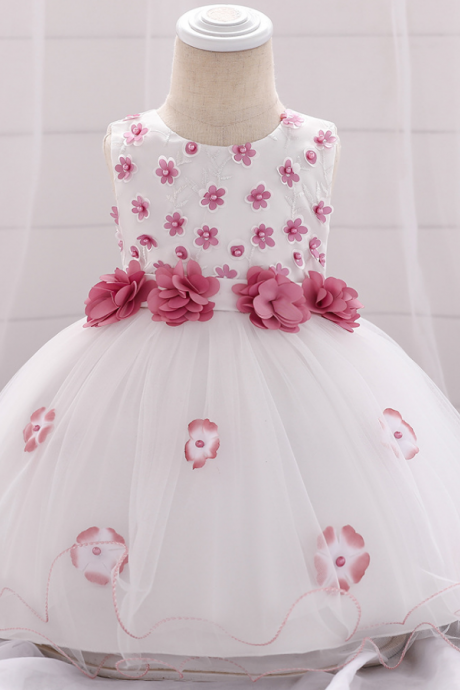 Beaded Flower Girl Dress Floral Princess Newborn Baptism Party Birthday Tutu Gown Baby Kids Clothes bean