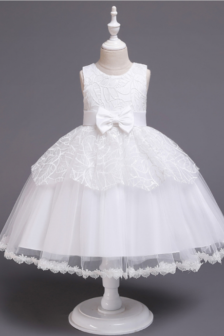 Lace Flower Girl Dress Princess Wedding Communion Birthday Party Gown Children Kids Clothes white