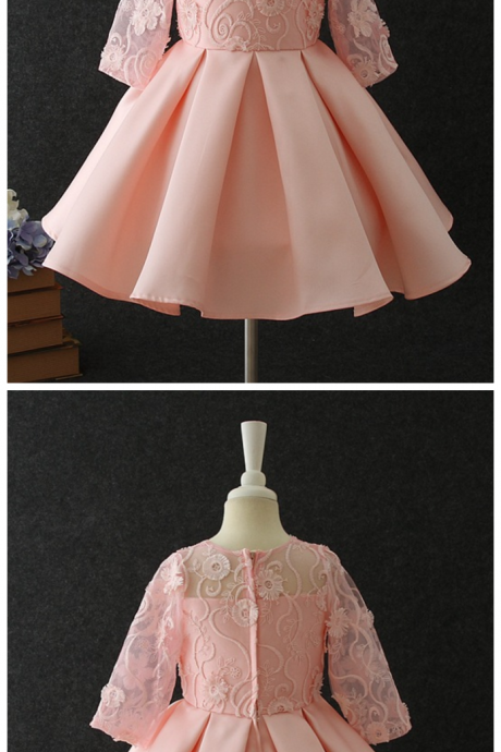 Lace Girls Stage Dress Mid-Sleeve Princess Lace Dress New High quality Flower Girl Dress