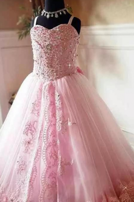 2019 Beautiful Pink Lace Appliques Beads Long Flower Girl Dresses Spaghetti Straps Custom Kids First Communion Pageant Party Gowns Beaded