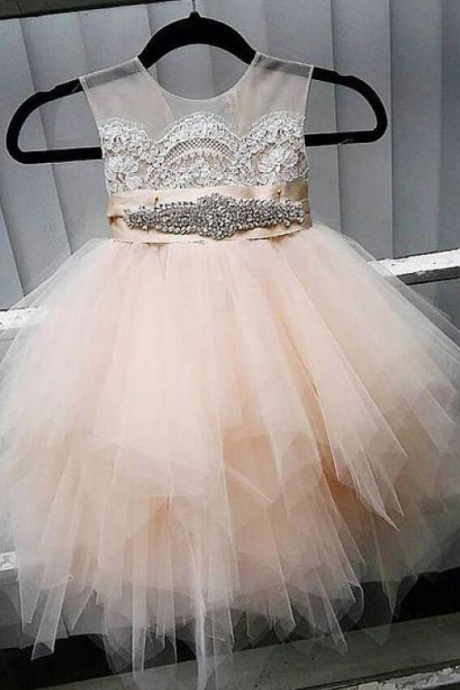 Cute Tulle Jewel Neckline Cap Sleeve Beading Flower Girl Dresses With Lace Appliques,FG1840