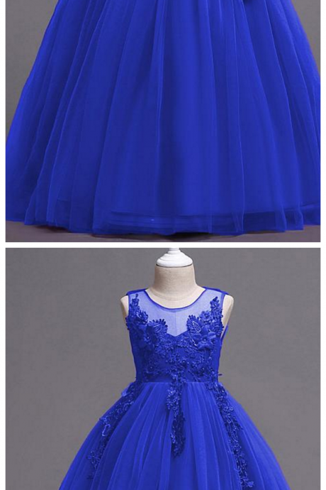 Lace Satin Tulle Jewel Neckline A-line Flower Girl Dress