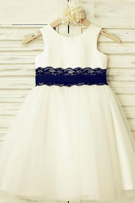 Lace Scoop Neckline A-line Flower Girl Dresses