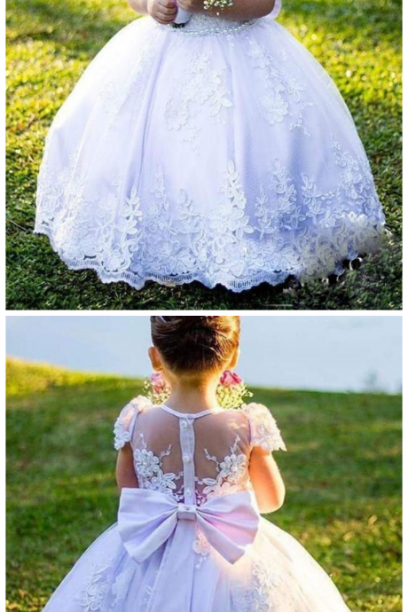 Flower Girls Dresses For Weddings Cap Sleeves Ball Gown Girls Pageant Dress Back Sheer Lace Appliques Bow First Communion Dress