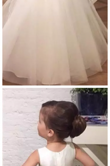 Ivory Flower Girls Dresses Children Jewel Pearls Bow A Line First Communion Dress Tulle Floor Length Kids Formal Wear Birthday Gowns