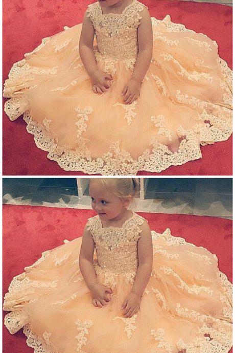 Girls Flower Girls Dresses Square Lace Appliques Tulle Girls Pageant Dress For Weddings Custom Made Kids Formal Wear Party Birthday Gowns