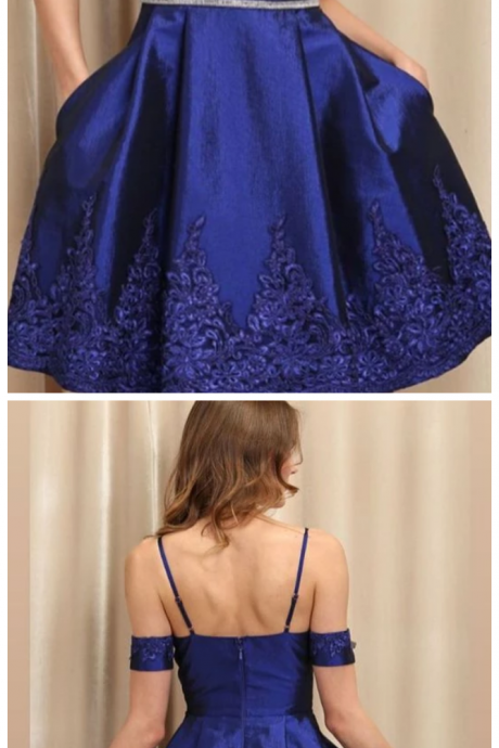 A Line Spaghetti Straps Royal Blue Homecoming Dress With Appliques