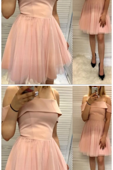 A Line Spaghetti Straps Pink Short Homecoming Dress With Ruffles