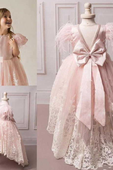 A-Line Hi-Lo Princess Tutu Sequined Appliqued Lace Bow Flower Girl Dresses for Wedding Child First Communion Dress