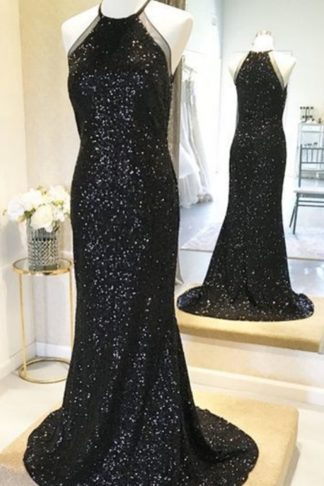 Gorgeous Sparkly Sequins Prom Dress, Black Bridesmaid Dress, Glitter Evening Gowns,