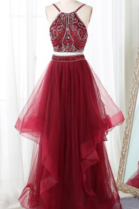 Stylish Straps Wine Red Backless Beaded Two Piece Formal Dresses, Two Piece Prom Dresses,Halter Party Dresses