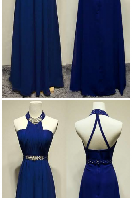 Prom Dresses,Royal Blue Prom Dresses,Long Prom Dresses, Evening Dresses,Beaded Prom Gowns,Pageant Dress,Halter Prom Dress ,Prom Dresses