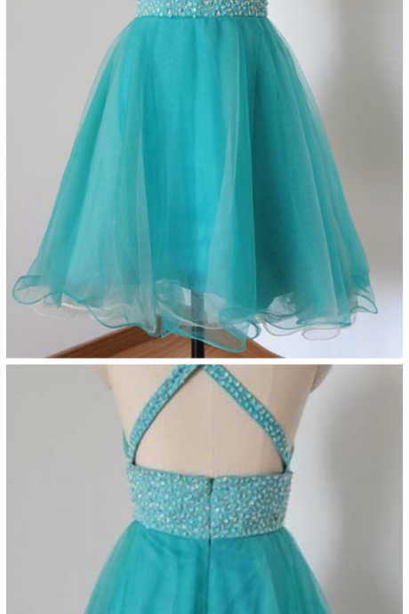 Homecoming Dresses, Graduation Dresses, Mini Party Dress, Homecoming Dresses with Silver Beaded, Short Prom Dresses, Turquoise Prom Dresses, Organza Homecoming Prom Dresses, Prom Dresses, V Neckline Prom Dress, Real Samples Prom Dresses