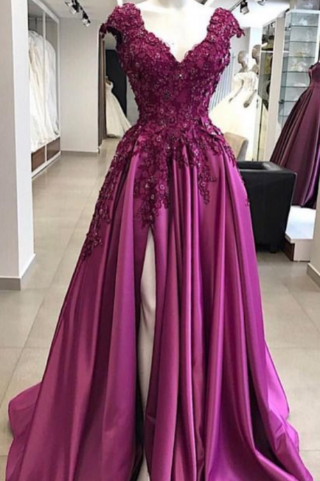 A Line Satin Prom Dresses Sexy V Neck Lace Appliques Evening Formal Gowns