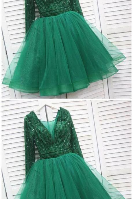 Sassy Wedding Sparkly Tulle Emerald Green Short Homecoming Dress, Beaded Prom Dress