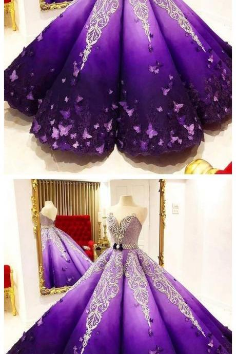 Strapless Butterfly Quinceanera Dress Purple Ball Gown