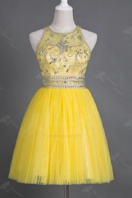 Yellow Tulle Homecoming Dress