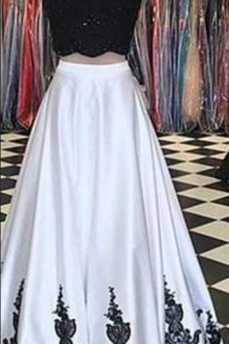 Two Pieces A-Line O-Neck Prom Dresses,Long Prom Dresses,Cheap Prom Dresses, Evening Dress Prom Gowns, Formal Women Dress