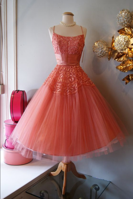 Vintage Prom Dress, Coral Prom Gowns, Lace Homecoming Dress